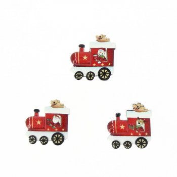 18 Mini Autocollants Train Rouge et Renne (2 cm) - Résine