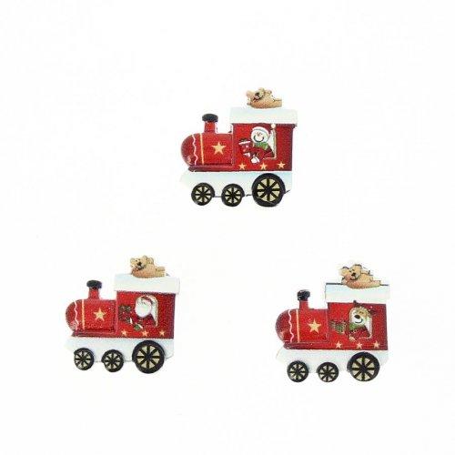 18 Mini Autocollants Train Rouge et Renne (2 cm) - Résine