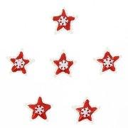 6 Mini Etoiles de Noël Rouge Autocollants (3 cm) - Résine