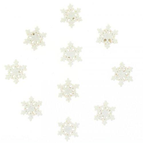 10 Minis Flocons Glitter Blanc Autocollants (3 cm) - Résine