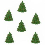 6 Mini Sapins de Noël Autocollants (3,5 cm) - Résine