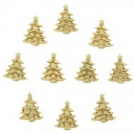 10 Minis Sapins Or Autocollants (3,5 cm) - résine