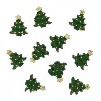 10 Mini Sapins Autocollants (2,5 cm) - Résine