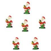 6 Minis Père Noël Autocollants (3 cm) - Résine