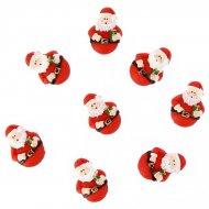 6 Minis Pères Noël Ronds Autocollants (3 cm) - Résine