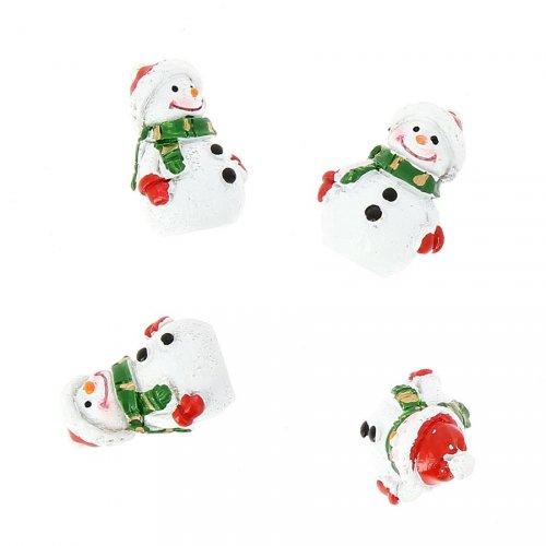 4 Déco Mini Bonhommes de Neige (3 cm) - Résine