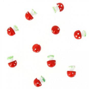 10 Minis Champignons Autocollants (2 cm) - Résine