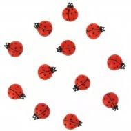 12 Minis Coccinelles Autocollantes (2 cm) - Résine