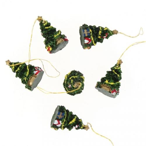 6 Mini Suspensions Sapin de Noël (3,5 cm) - Résine
