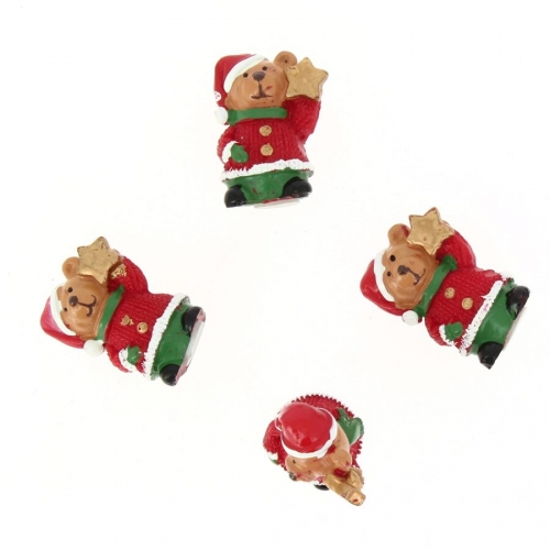 4 Minis Oursons Noël Autocollants (3,5 cm) - Résine