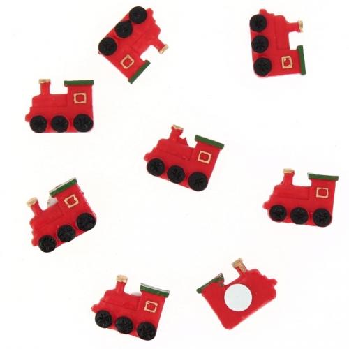 8 Locomotives Noël Autocollants (2,5 cm) - Résine