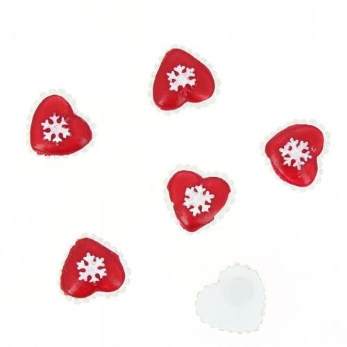 6 Coeurs Rouge Autocollants (3 cm) - Résine