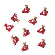 10 Ours Noël sur un Scooter Autocollants (3 cm) - Résine