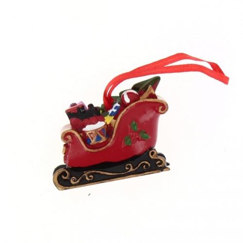 1 Traîneau de Père Noël à suspendre (5 cm) - Résine