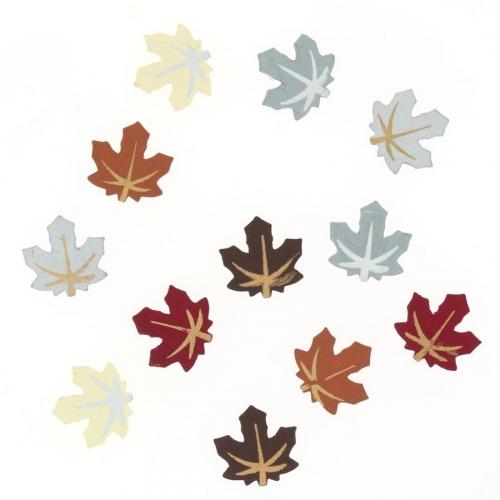 12 Minis Feuilles D Automne ( 2 cm) - Bois