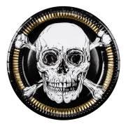 6 Assiettes Pirate Noir/Or