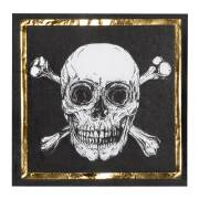 12 Serviettes Pirate Noir/Or