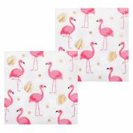 12 Serviettes Flamant Rose