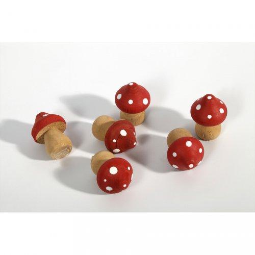 6 Mini champignons en Bois (3 cm)