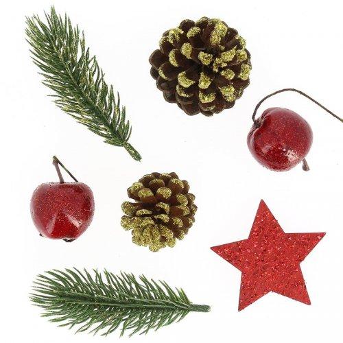Kit Déco Créative Pommes, Pins, Etoile - Rouge