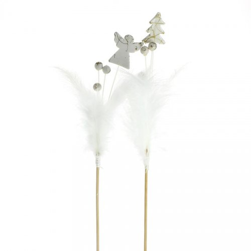 2 Longs Pics Déco Noël Blanc à Plume (37 cm)