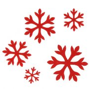 Assortiment 10 Flocons Rouge - Feutrine
