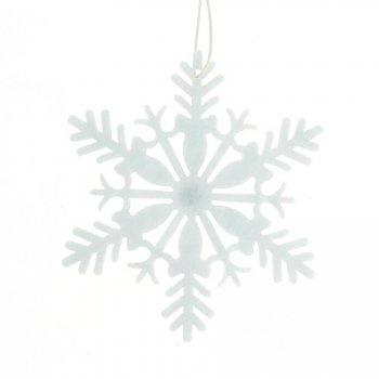 2 Grands Flocons de Neige Blanc (11 cm) - Feutrine