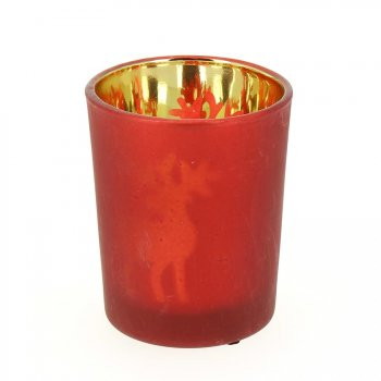Photophore Verre Rouge Renne Or