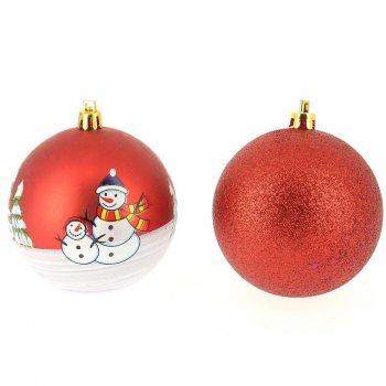 6 Boules de Noël Décors et Glitter (8 cm) - Rouge lamé