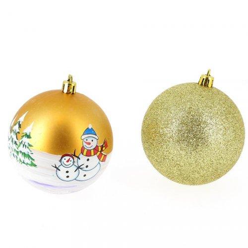 6 Boules de Noël Décors et Glitter (8 cm) - Or
