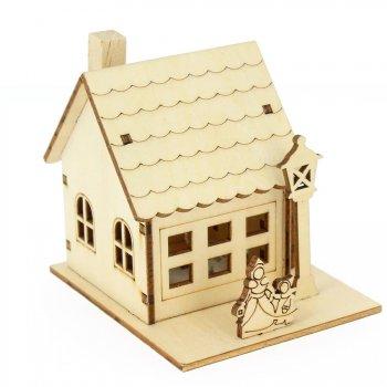Maison en Bois 3D Lumière LED (10 cm)