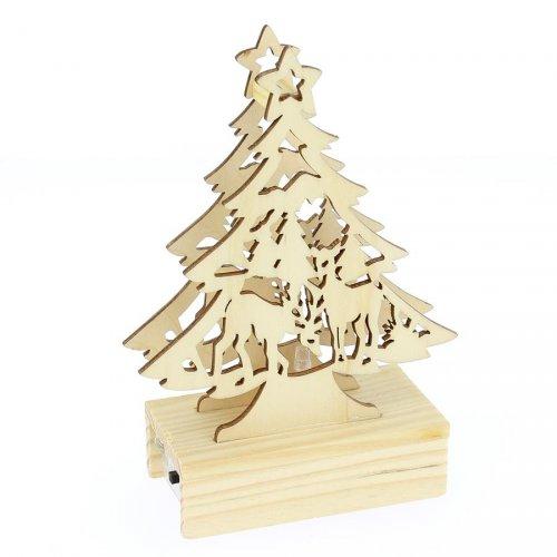 Sapin en Bois Lumière LED (15 cm)