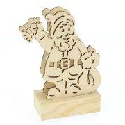 Père Noël en Bois Lumière LED (15 cm)