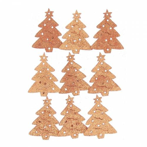 9 Stickers Sapins Glitter Orange (4 cm) - Bois