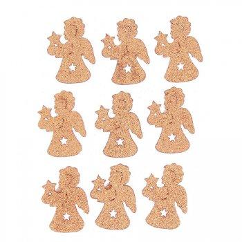 9 Stickers Anges Glitter Orange (3,5 cm) - Bois