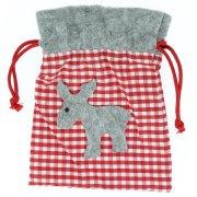Sac Cadeau Renne Gris (18 cm) - Feutrine et Tissu