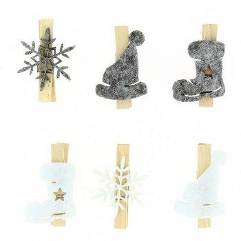 6 Pinces Noël Douceur (4,5 cm) - Bois et Feutrine