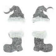10 Décos Bottes et Bonnets Gris (4 cm) - Feutrine