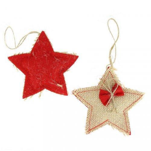 2 Étoiles à Suspendre (8 cm) - Feutrine et Toile naturelle