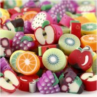 20 Perles plates Fruits (1,5 cm) - Polymère
