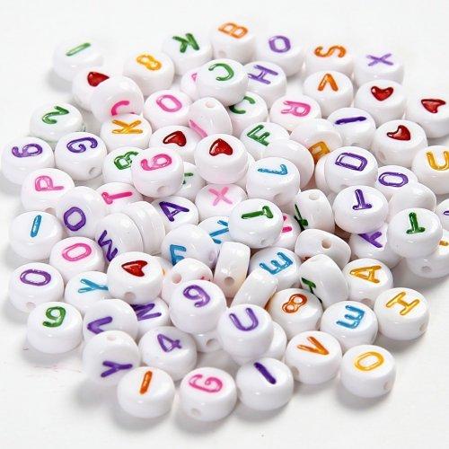 Perles Plates Alphabet Multicolores (6 mm)