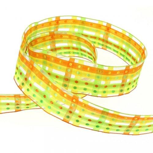 Ruban Large Pois et Rayures Vert/Jaune/Orange (3,5 cm - 2 m)