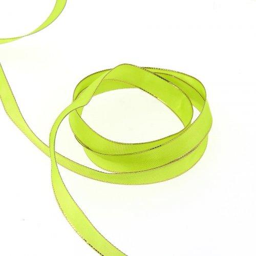 Ruban Uni Vert Anis Liseré Or (1,5 cm - 2 m)