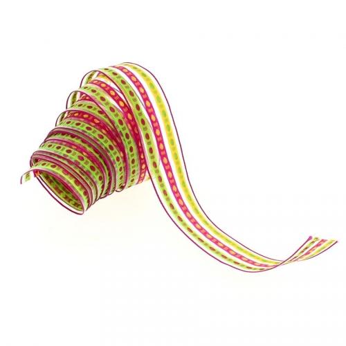 Ruban Bandes Oeufs Vert/Jaune/Fuschia (2,5 cm - 2 m)