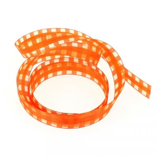 Ruban Damier Orange (2,5 cm - 2 m)