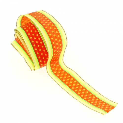 Ruban Large Pois et Bandes Vert/Jaune/Orange (4 cm - 2 m)