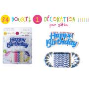 24 Bougies et 1 Décoration Happy Birthday