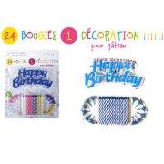 24 Bougies et 1 Décoration Happy Birthday Multicolore