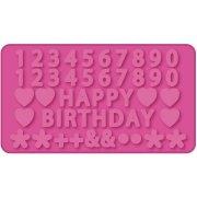 Moule modelage Happy Birthday, chiffres et décors