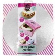 Boite à Gâteau rose avec Support